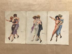 五十年代法国彩色明信片:美女跳舞画3张一组(绘画版),M040