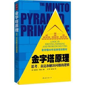 金字塔原理:思考、表达和解决问题的逻辑  金字塔原理是一种重点突出、逻辑清晰、主次分明的逻辑思路、表达方式和规范动作。    金字塔的基本结构是:中心思想明确,结论先行,以上统下,归类分组,逻辑递进。先重要后次要,先全局后细节,先结论后原因,先结果后过程。    金字塔训练表达者:关注、挖掘受众的意图、需求、利益点、关注点、兴趣点和兴奋点,想清内容说什么、怎么说,掌握表达的标准结构、规范动作。