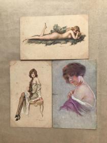五十年代法国彩色明信片:裸体美女图3张一组(绘画版),M043