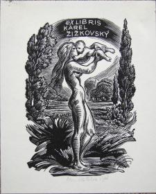 """捷克艺术家""""Emil Kotrba(1912-1983)""""木板藏书票—《裸女与孩子》作者签名 1968"""