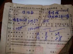 民国36年  广州市政府地政局土地所有权移转通知联单