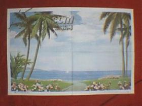 陈初电创作的国画:海南岛(此为对开画,宽76厘米,高52厘米;表现的是夏日的海南岛海滨晴空万里、海天一色、植物茂盛、鲜花盛开的壮丽景象;印刷品;原为教学挂图)
