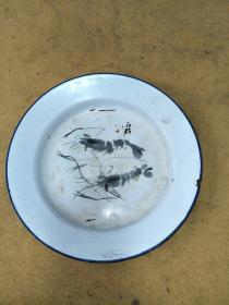 文革搪瓷茶盘,齐白石的虾趣