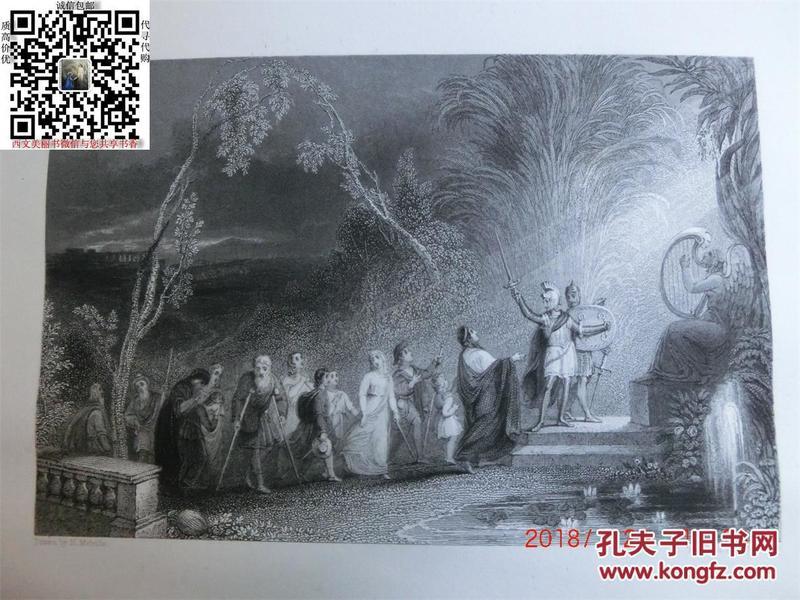 【現貨 包郵】《 The Pilgrims 》1836年鋼版畫   尺寸27.8*21.3厘米    (貨號18004)