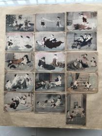 民国日本彩色明信片:儿童嬉戏图15张一组(绘画版),M044