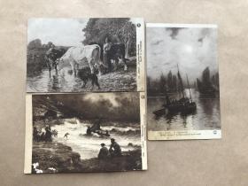 民国法国明信片:帆船田园生活人物图3张合售(绘画版),M046