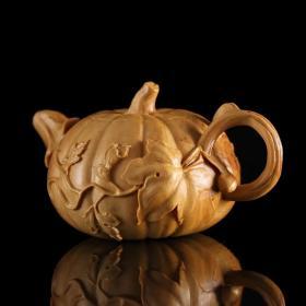 乐清黄杨木手工雕刻南瓜壶/精工细做,把件包浆后更精美
