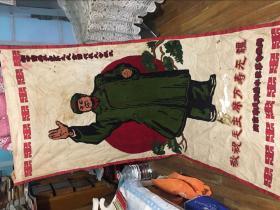 文革宣传画毛像 刺绣