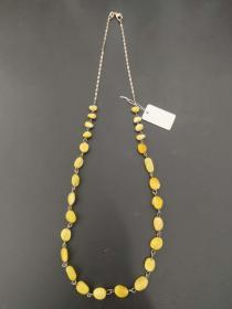 欧洲 蜜蜡 琥珀 银镶 项链 8.44克 55cm