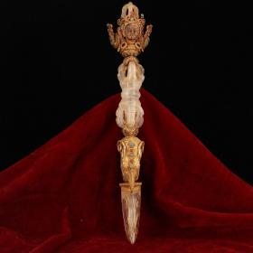 西藏古寺地宫出土老纯手工打造天然水晶镶嵌宝石鎏金金刚降魔杵     镇宅辟邪 。 重453克 长36厘米