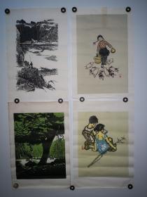 约上世纪60年代朵云轩版画4张合售,详见图片,每张尺寸26*38CM