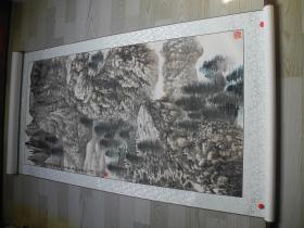 【名家书画】著名画家王征的大幅山水画《秋山深居图/138*68》