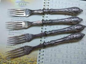 西洋 欧洲古董 德国 餐具 银器 柄是800银的 叉子 有雕花刻花 可以分开出售