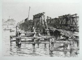 """1884年""""真正的蚀刻铜版画""""""""老伦敦建筑风景""""系列—《伦敦巴特西桥》""""Ernest George"""" 作品37x27cm"""