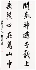 浙江书法家洪侠峰 精品书法对联 34*138*2,纸本