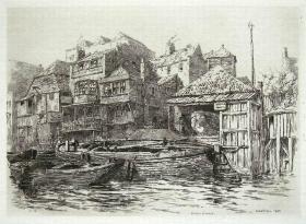 """1884年""""真正的蚀刻铜版画""""""""老伦敦建筑风景""""系列—《伦敦沙德韦尔》""""Ernest George"""" 作品37x27cm"""