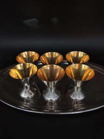 西洋 欧洲 杯子6个 内部镀金 加盘子