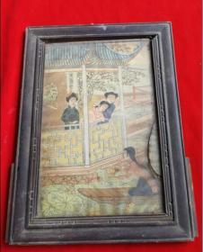 特价民国手绘画的人物年画宣传画采莲图包老怀旧