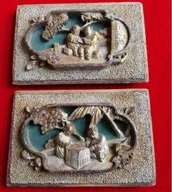 特价民国雕刻精美人物图花板雕版木雕一对包老怀旧