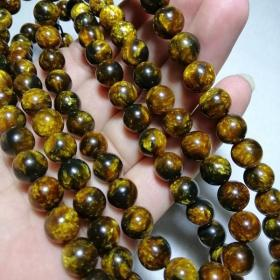 收钱币收的 老藏传 海柳108颗佛珠项链直径1厘米左右琥珀光浓郁