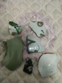 茉莉瓷片-明清老瓷片6块小