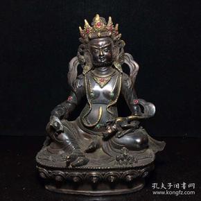 舊藏純銅鑲寶石黃財神一尊   長16厘米,寬9厘米,高20厘米,重950克,