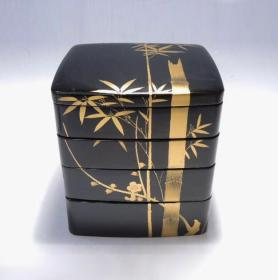 ▲民国日本朱黑漆金莳绘木胎竹纹四段老漆盒 回流老漆器文玩古董漆艺