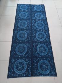 五十年代老粗布被单(手工纺线,手工织布,手工印花)