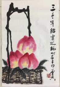 乍启典画寿桃