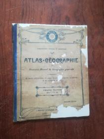 【2639 ATLAS-GEOGRAPHIE (Nouveau Manuel de Geographie generale)(外文地理地圖.1918年出版,封面有修