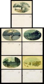 伪满洲国风光和日本兵明信片 5枚