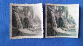 老照片:洛阳龙门留影一张黑白,一张点彩是同一底片