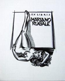 """比利时著名艺术家.""""高登/Gerard Gaudaen(1927-2003)""""木刻人体藏书票—《裸女》"""