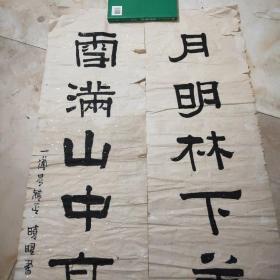 复旦大学复旦学院院长、复旦大学马克思主义研究院院长、博士生导师、教授(吴晓明)书法对联一幅129*33X2  保真