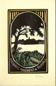 """德国艺术家""""Irma Zeitner""""彩色木刻藏书票—《湖景》 签名"""