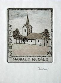 """德国艺术家""""Irma Zeitner""""彩色铜版藏书票—《乡村的教堂 》 签名 手工上色"""