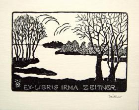 """德国艺术家""""Irma Zeitner""""木刻藏书票—《雪景》 签名"""