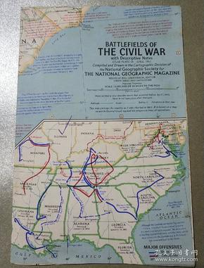 National Geographic國家地理雜志地圖系列之1961年4月 Battlefields of the Civil War 美國南北戰爭地圖