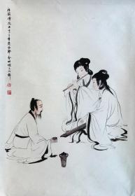傅 抱 石 款,纯手绘人物图托片。90X68