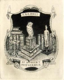 """""""奥地利艺术家""""(Ferdinand Lorber)铜版藏书票——《书籍上的猫头鹰与裸体雕像》"""