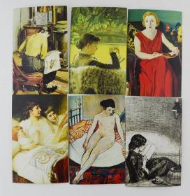 美术艺术油画题材 明信片--阅读的女人 之三(6张)  油画题标明信片 品净