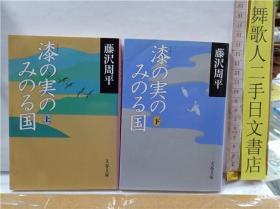 日文原版64文库类小说 藤沢周平 漆の実のみのる国  上下册 日语正版