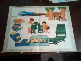 小学课本语文第三册教学图片:看图说话——爱惜课桌椅  简毅画  上海教育出版社出版 1979年3月一版一印 (4开)