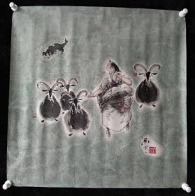 河北省美术家协会会员赵红光国画《牧羊图》