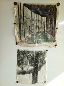 1987年 版画两幅  作者不识 应该是 张??,一副尺寸(50x50)一副尺寸(38x45)