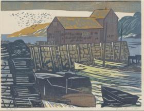 近代西方木版画 弗兰克·利昂纳·艾伦《Rockport》 1958年创作,签名