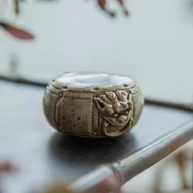 景德镇陶瓷纯手工石鼓盖置/实用把玩俱佳/实物精美不可多得之佳品