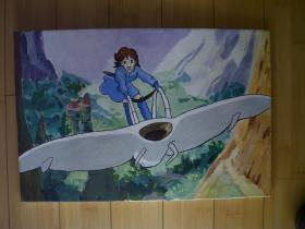 手绘画布面装饰油画 【有木质画框】  飞行器上的小女孩