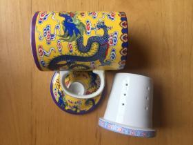陶瓷杯带盖带过滤泡茶杯子 马克杯三件式  青龙古寺