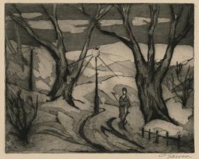 近代西方版画 埃米尔·甘索《Central Park Winter,No. 2》铜版蚀刻  1927年创作,签名